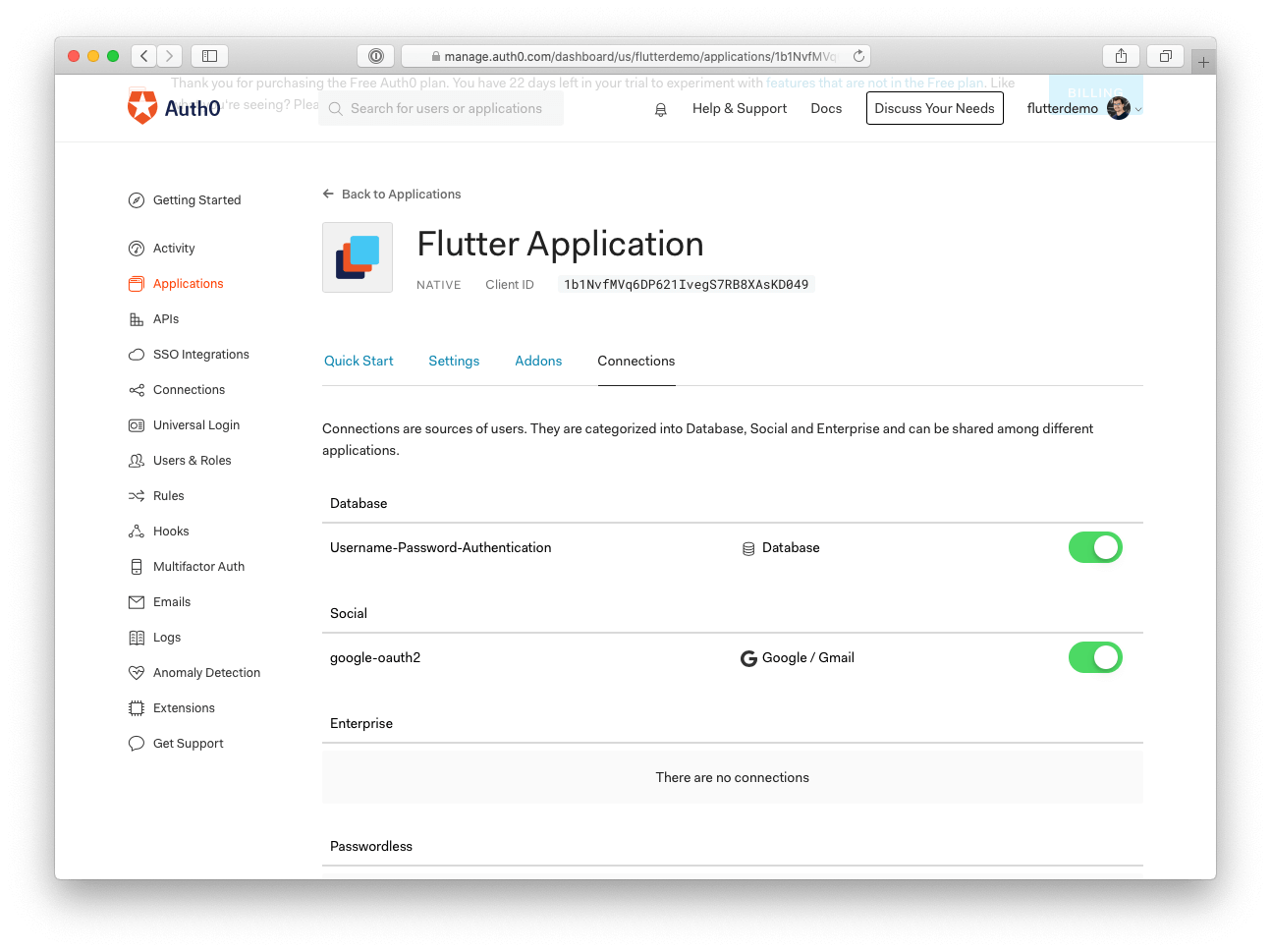 Auth0 connections for Flutter apps
