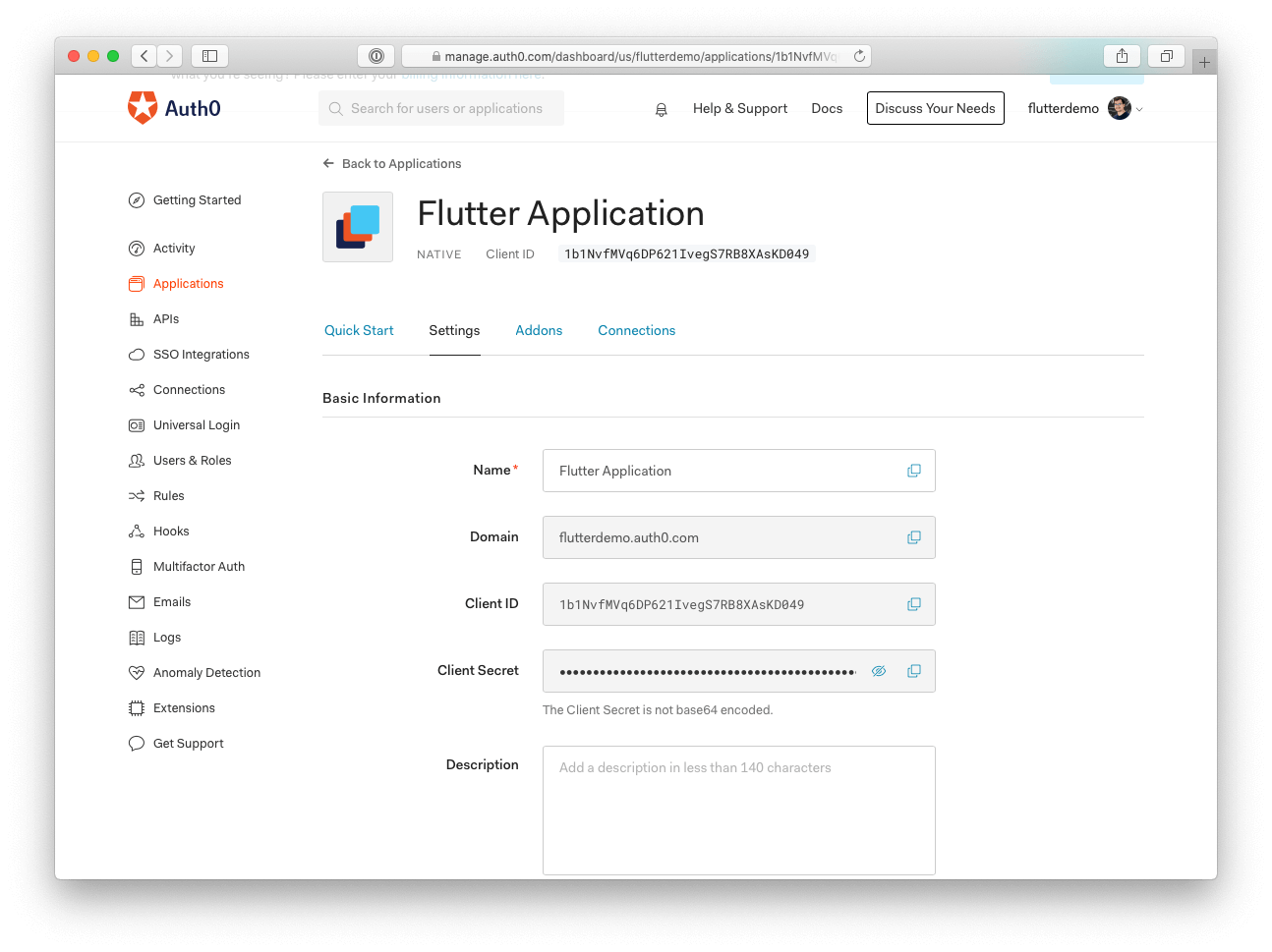 Auth0 settings for Flutter apps