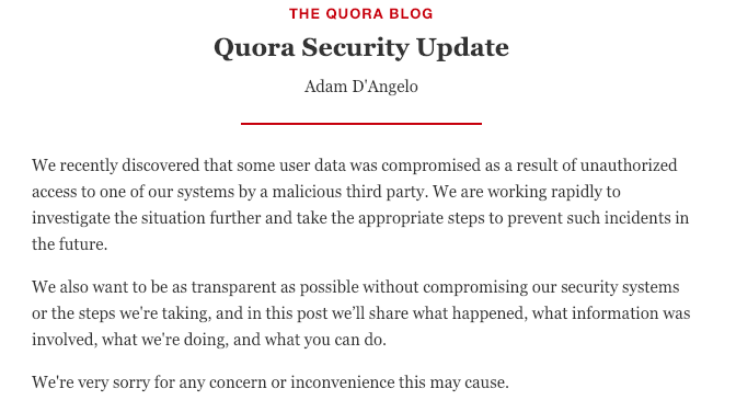 Quora Security Incident