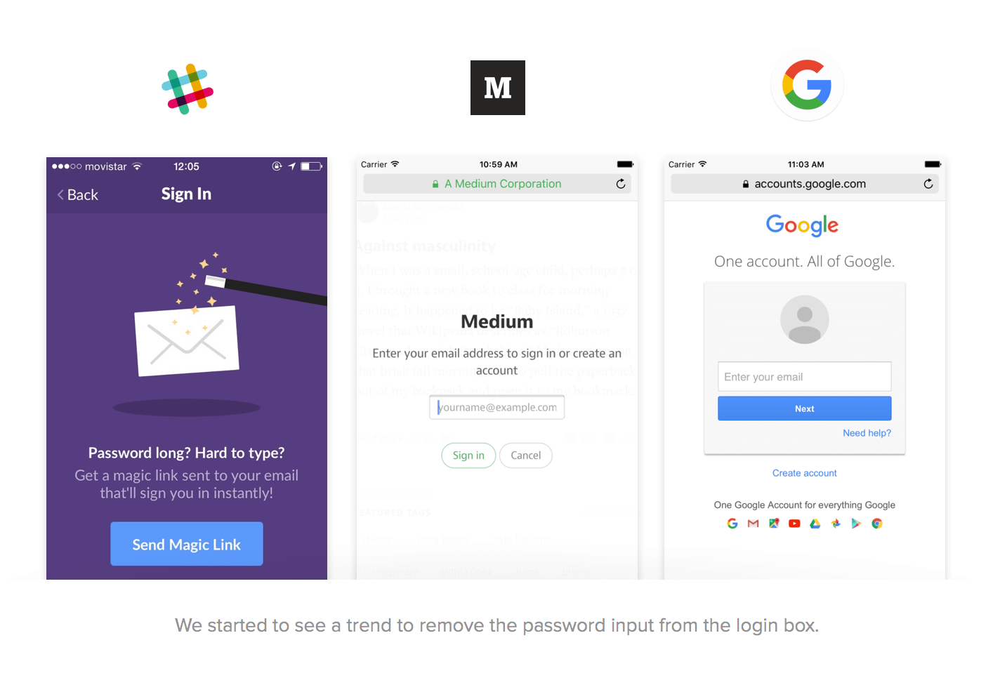 Slack, Medium, and Google login screens