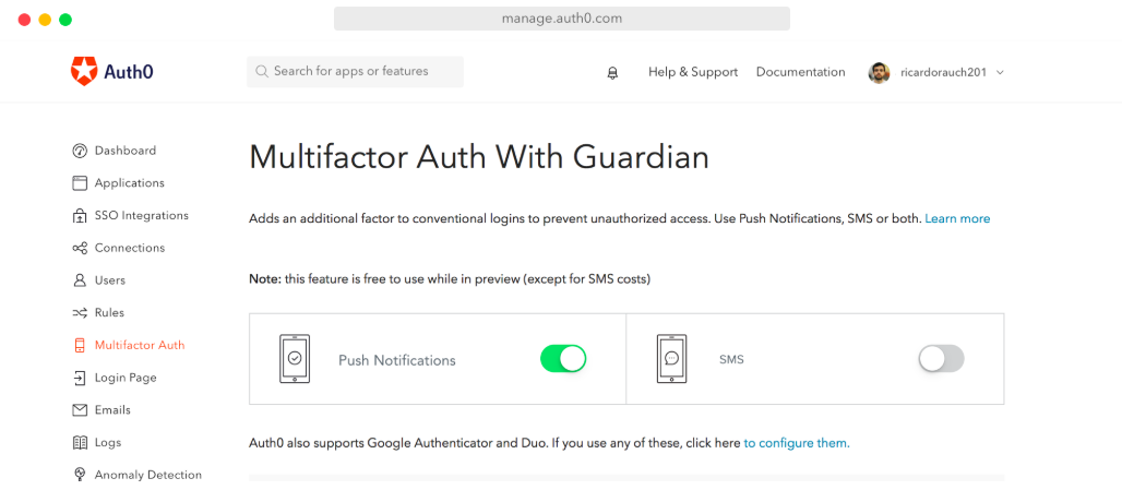 Multifactor Authentication (MFA) with Auth0 Guardian