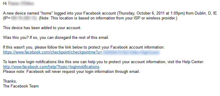 Facebook Security Email Form