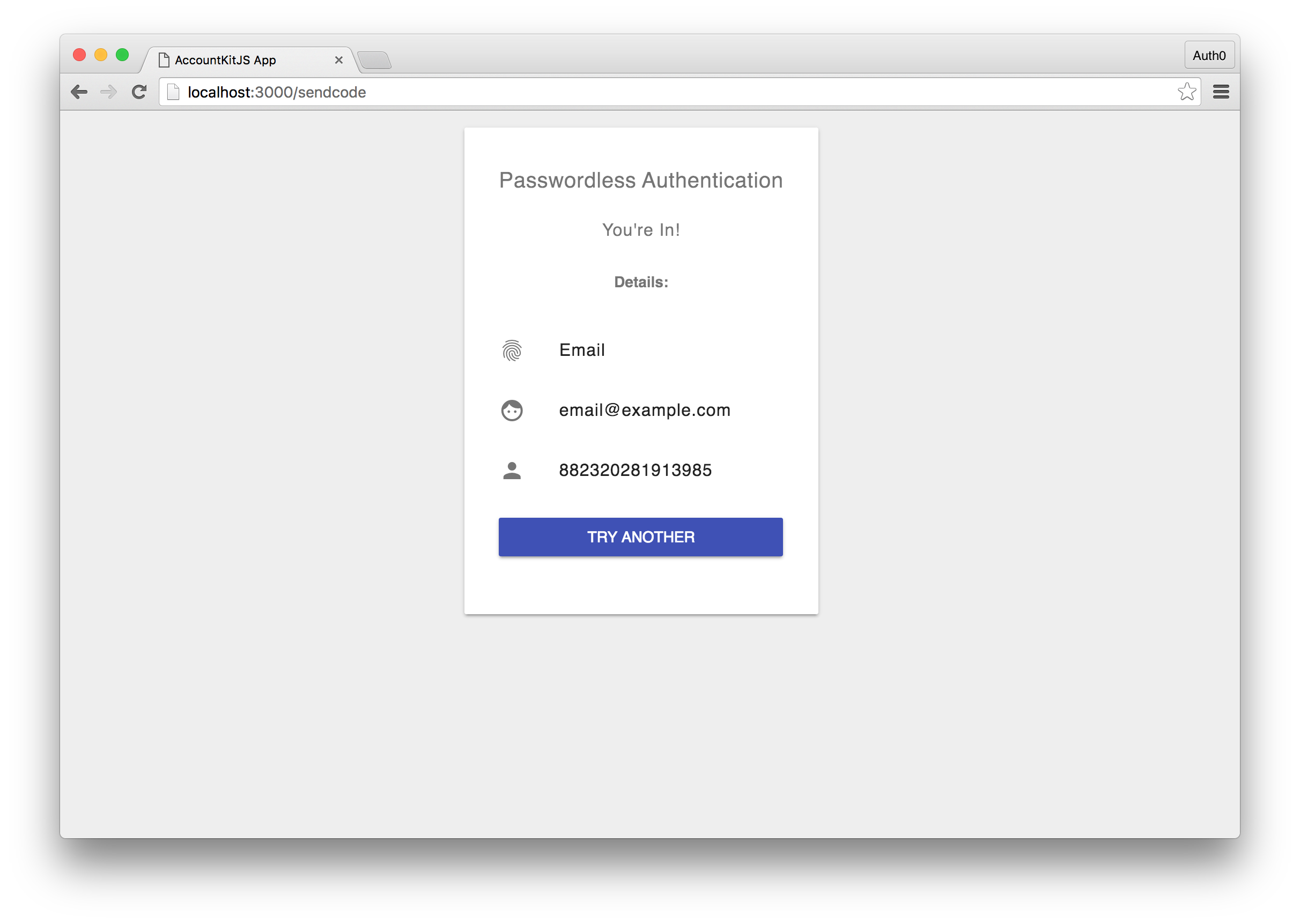Sample App Authenticated Screen