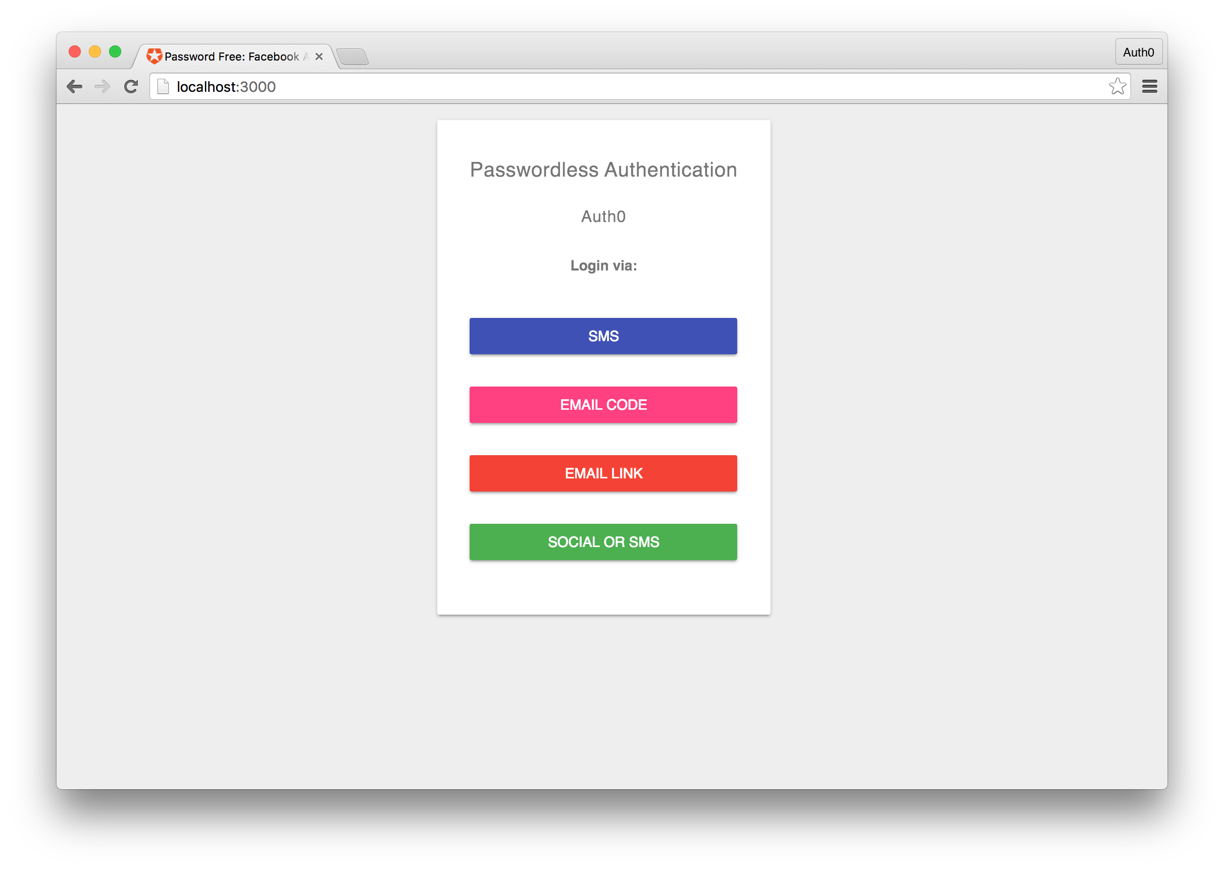 Auth0 Passwordless App