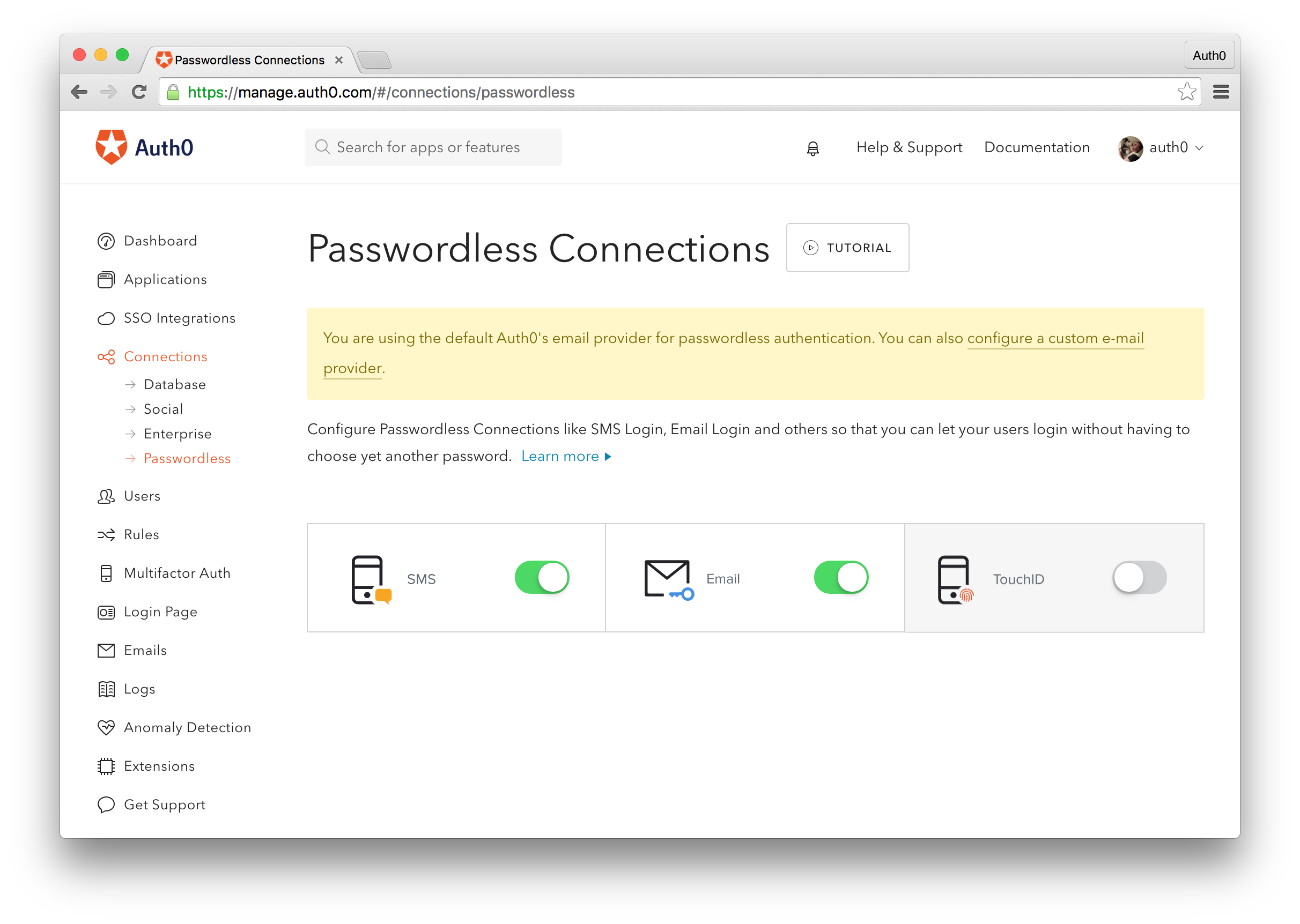 Auth0 Passwordless Options