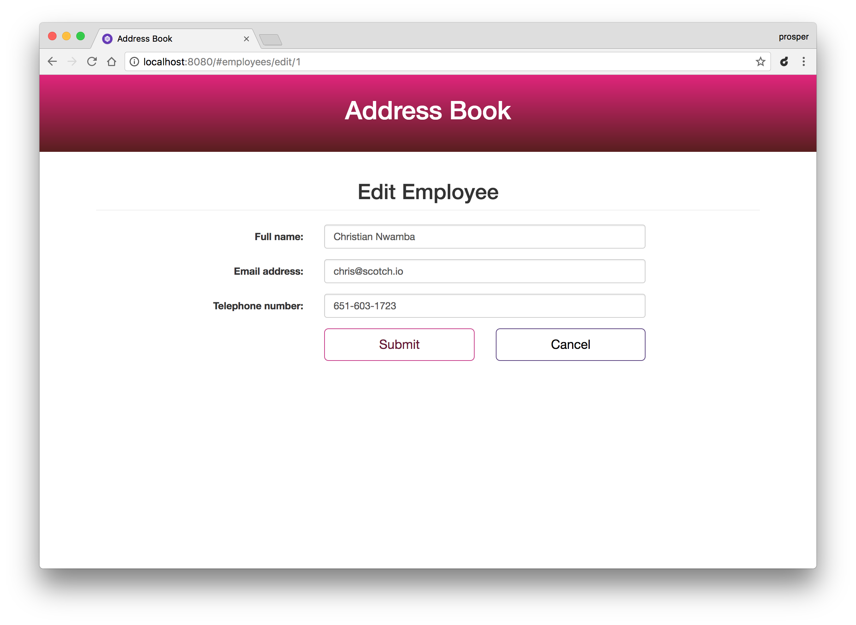 Editing an employee details