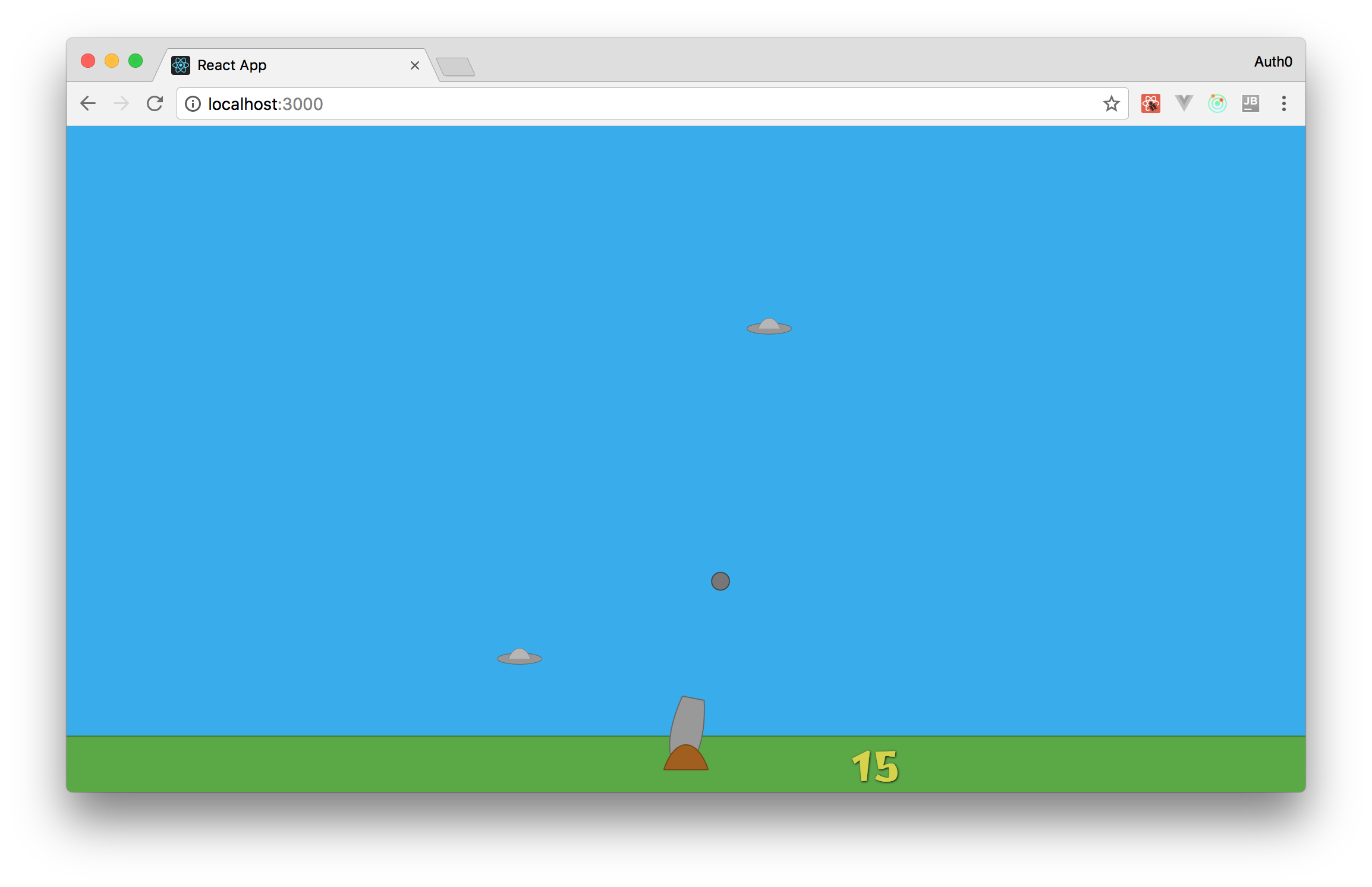 Enabling players to shoot cannon balls in a game created with React, Redux, and SVGs.