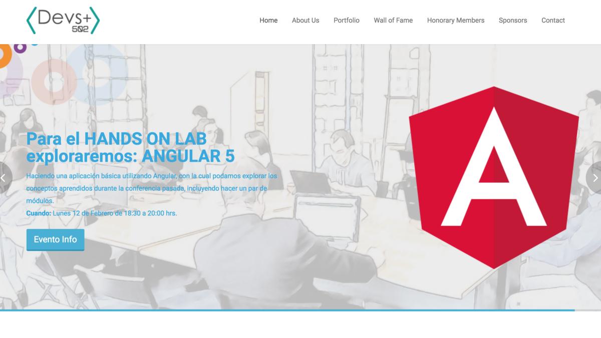 Devs+502 website screenshot