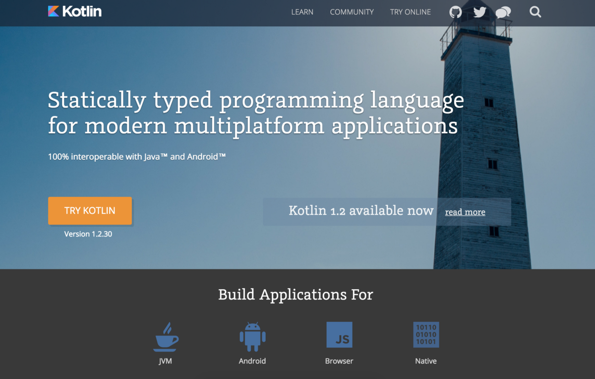Kotlin Programming Language website homepage screenshot