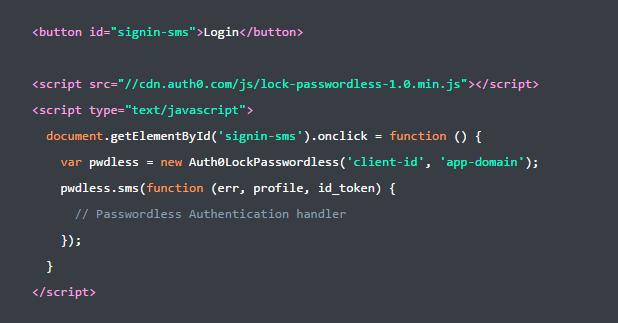 Adding Passwordless - Code Snippet