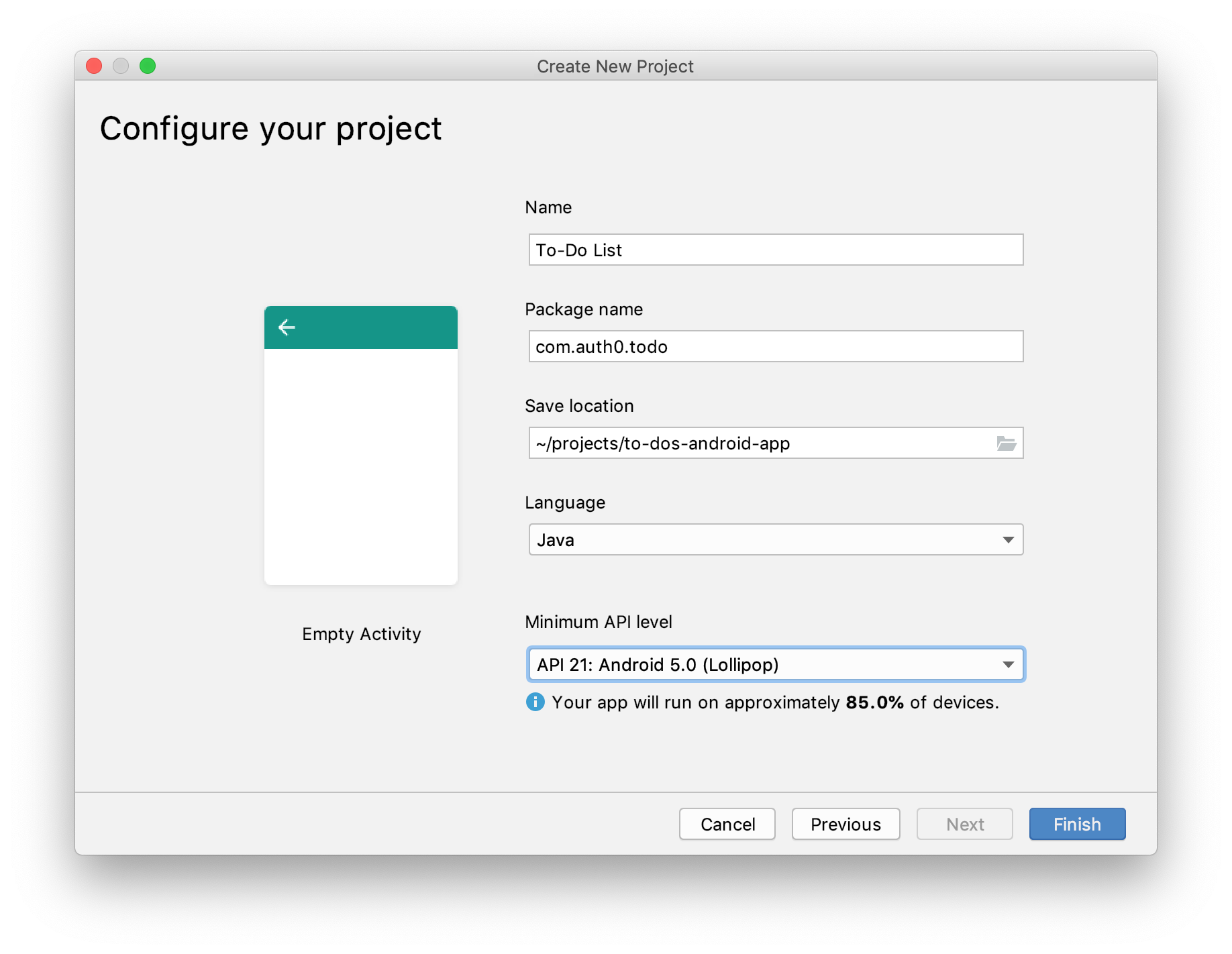 Configure the final settings of your new Android project.