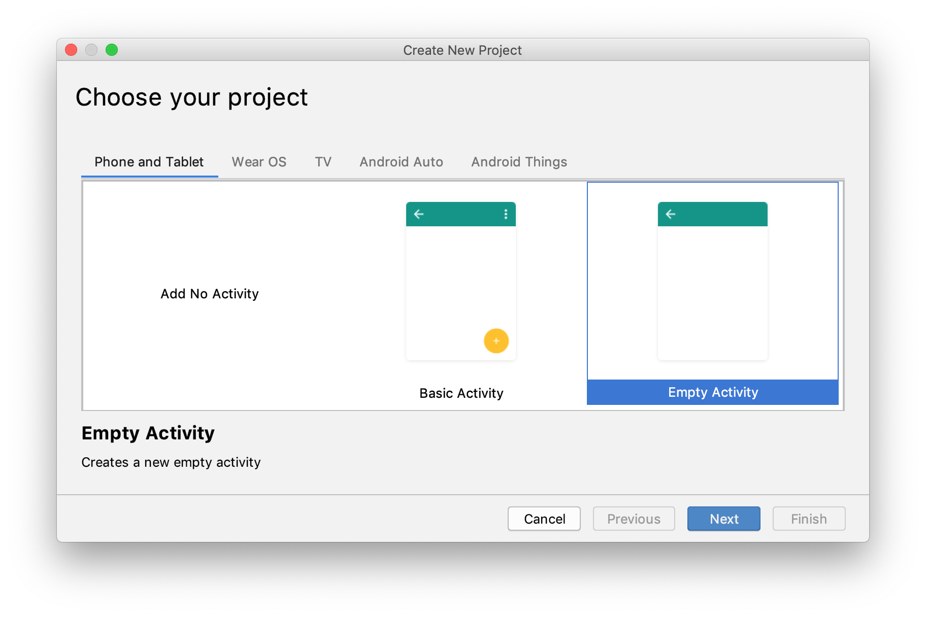Using Android Studio to scaffold a new Android project.