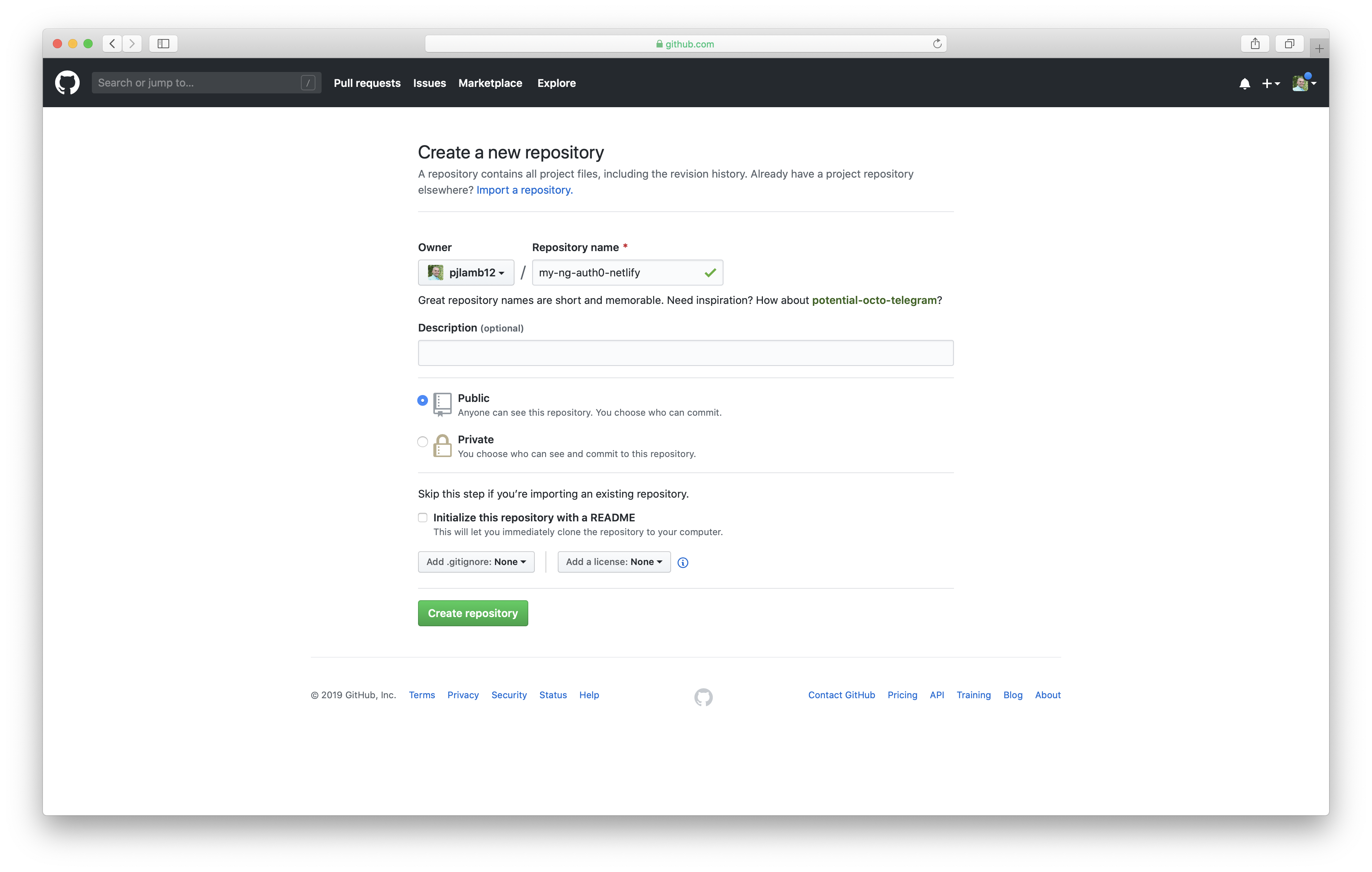 Create a new GitHub repository