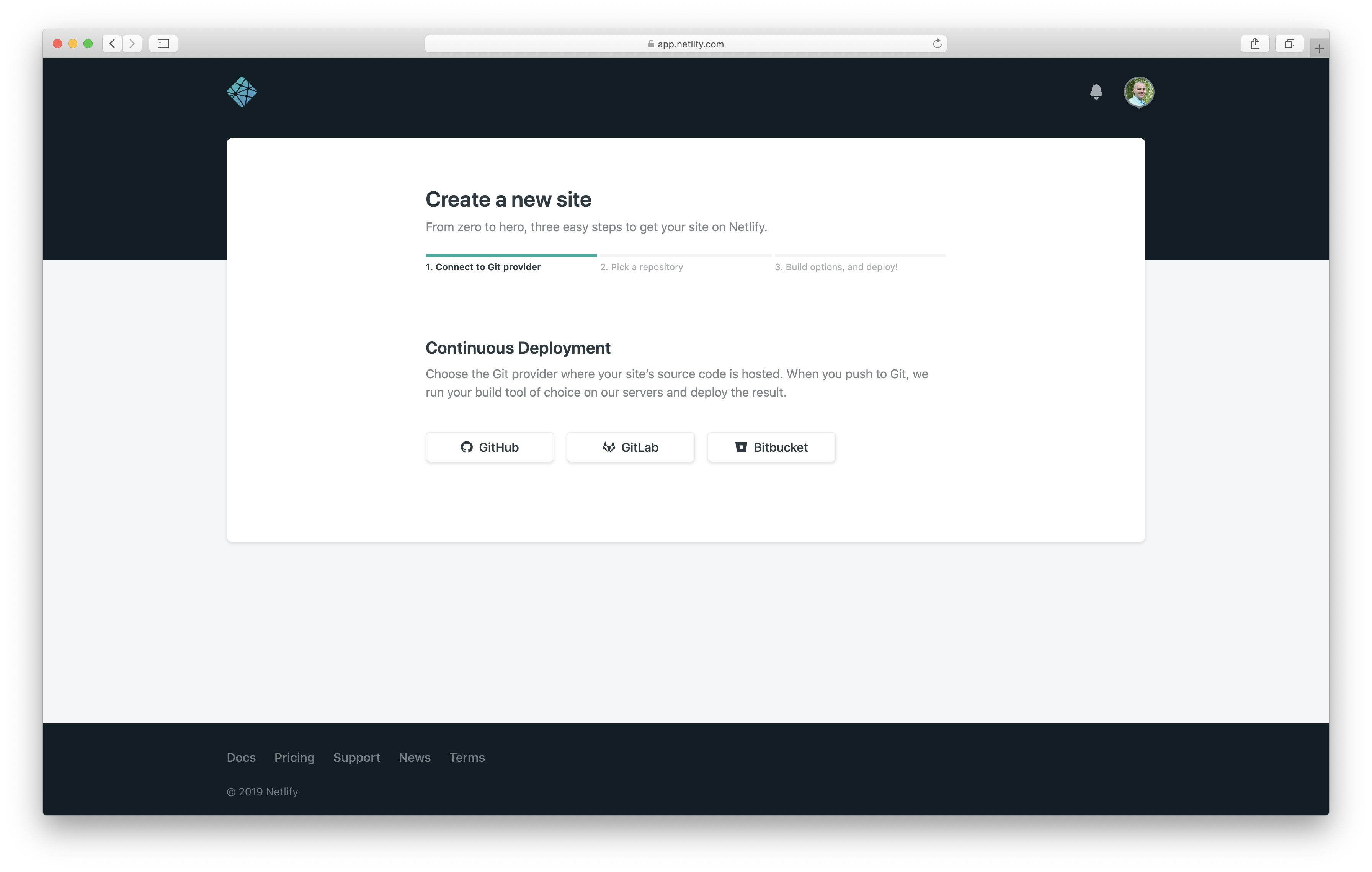 Create a new Netlify website