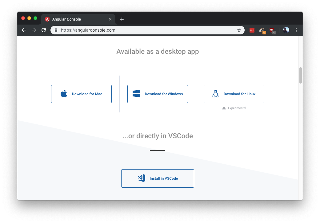 AngularConsole.com desktop app download options