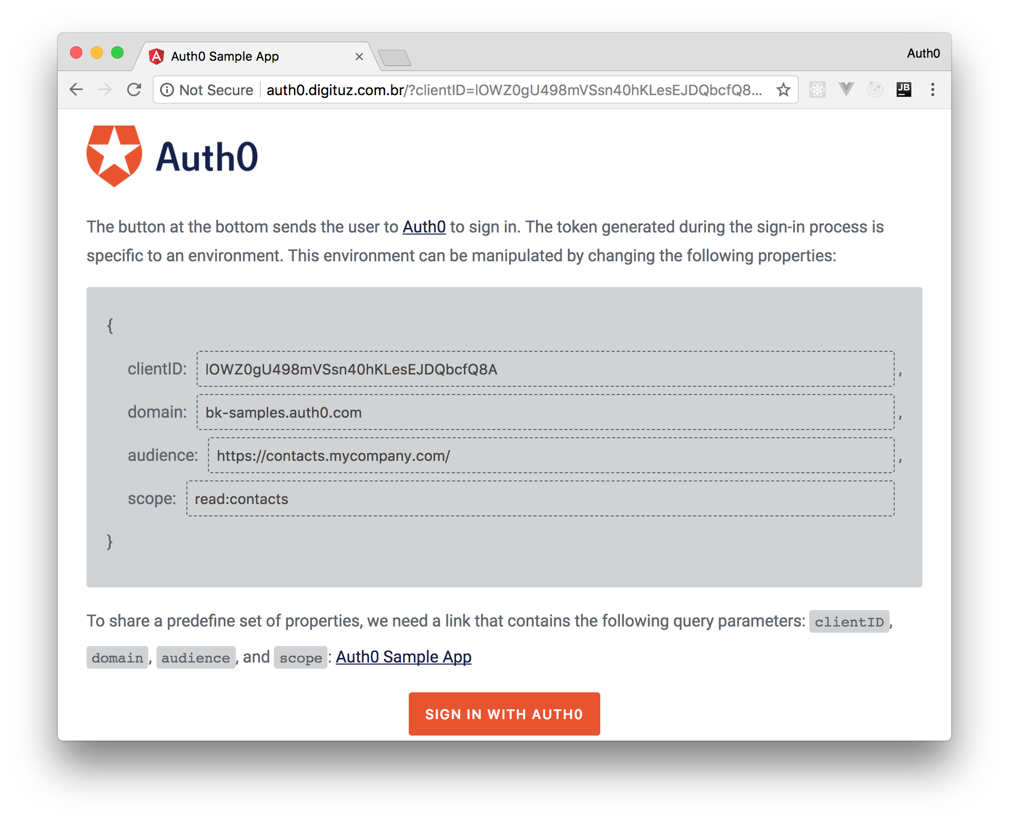 Using the Angular app with the configurable Auth0 application