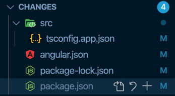 VS Code view of files that were modified. tsconfig.app.json, angular.json, package-lock.json, package.json