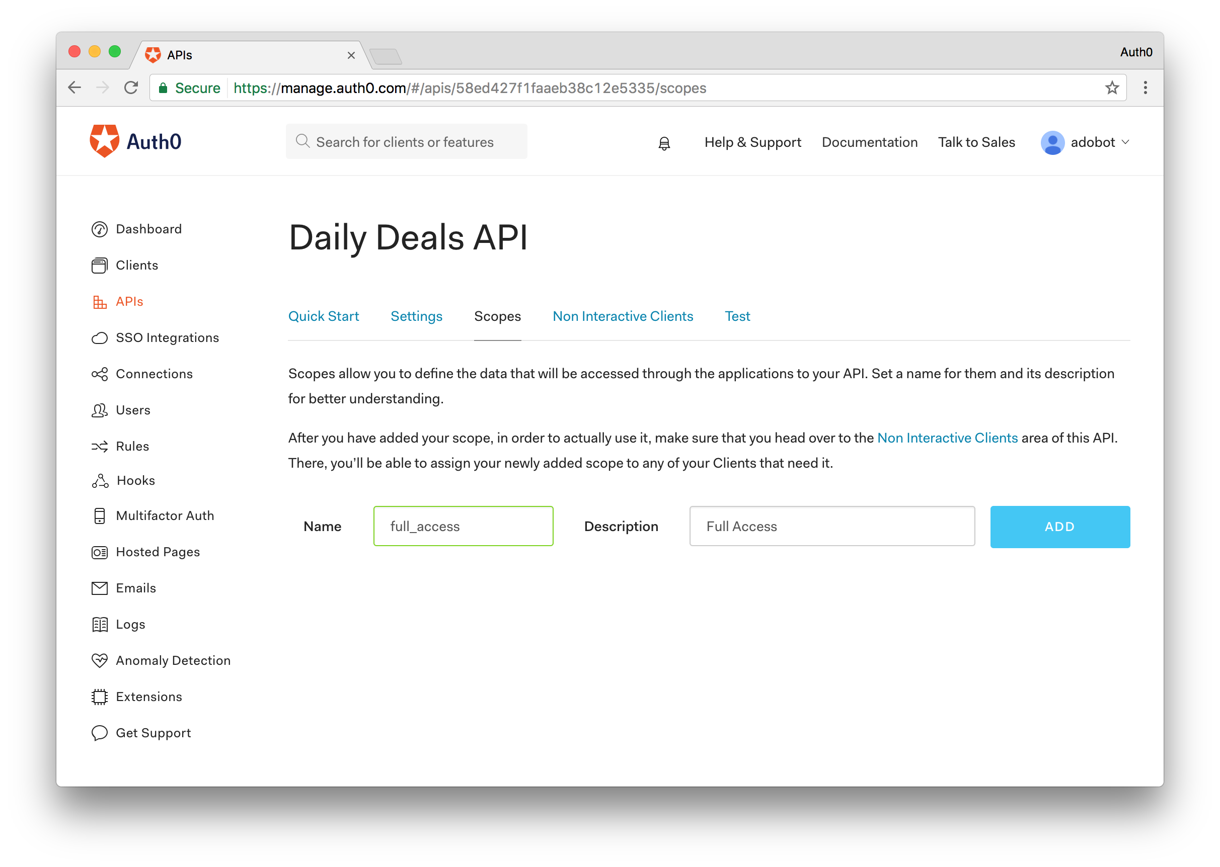Adding Scope to API