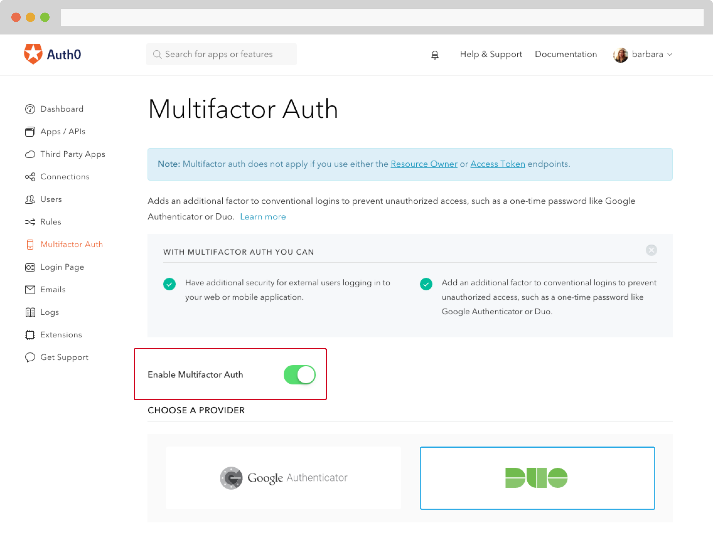 Enabling Multifactor in Auth0