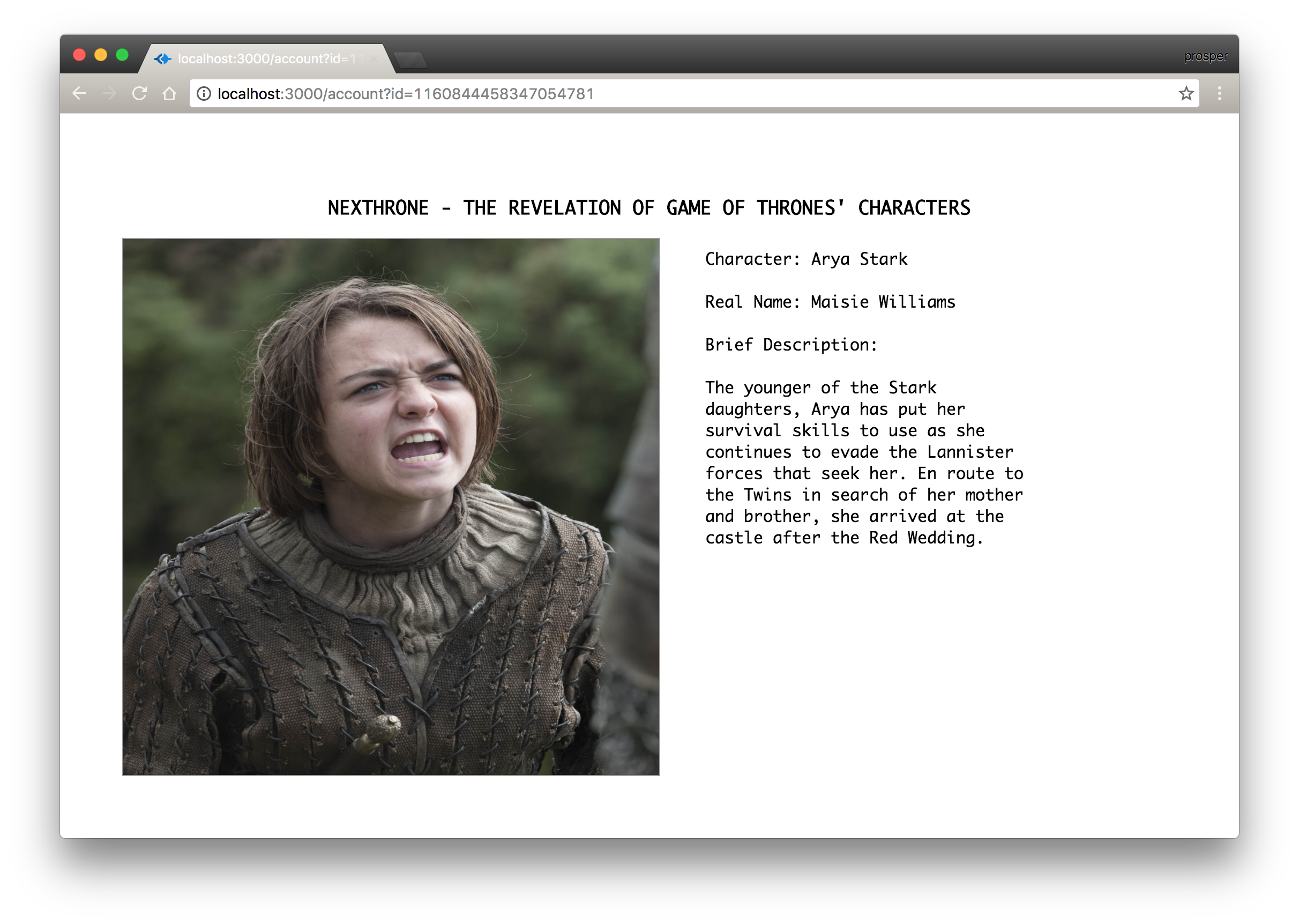 Arya Stark Account Page