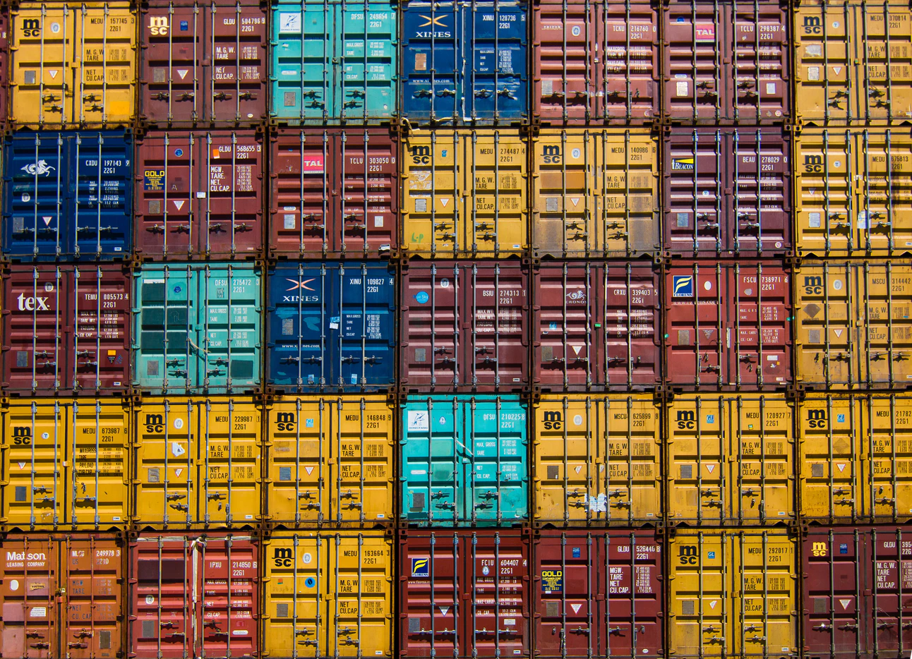 Containers on a dock