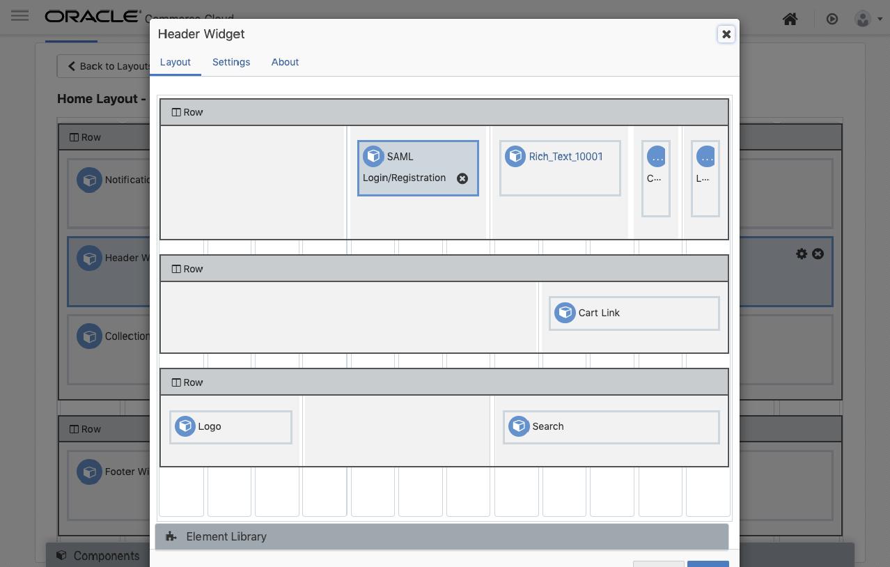 Oracle Header Widget