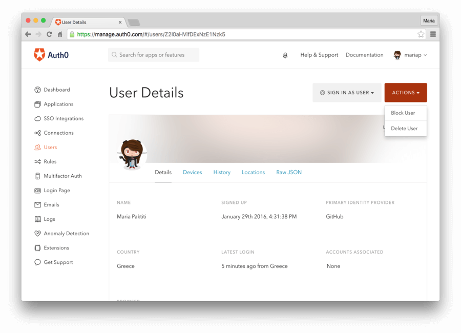User profile on Auth0