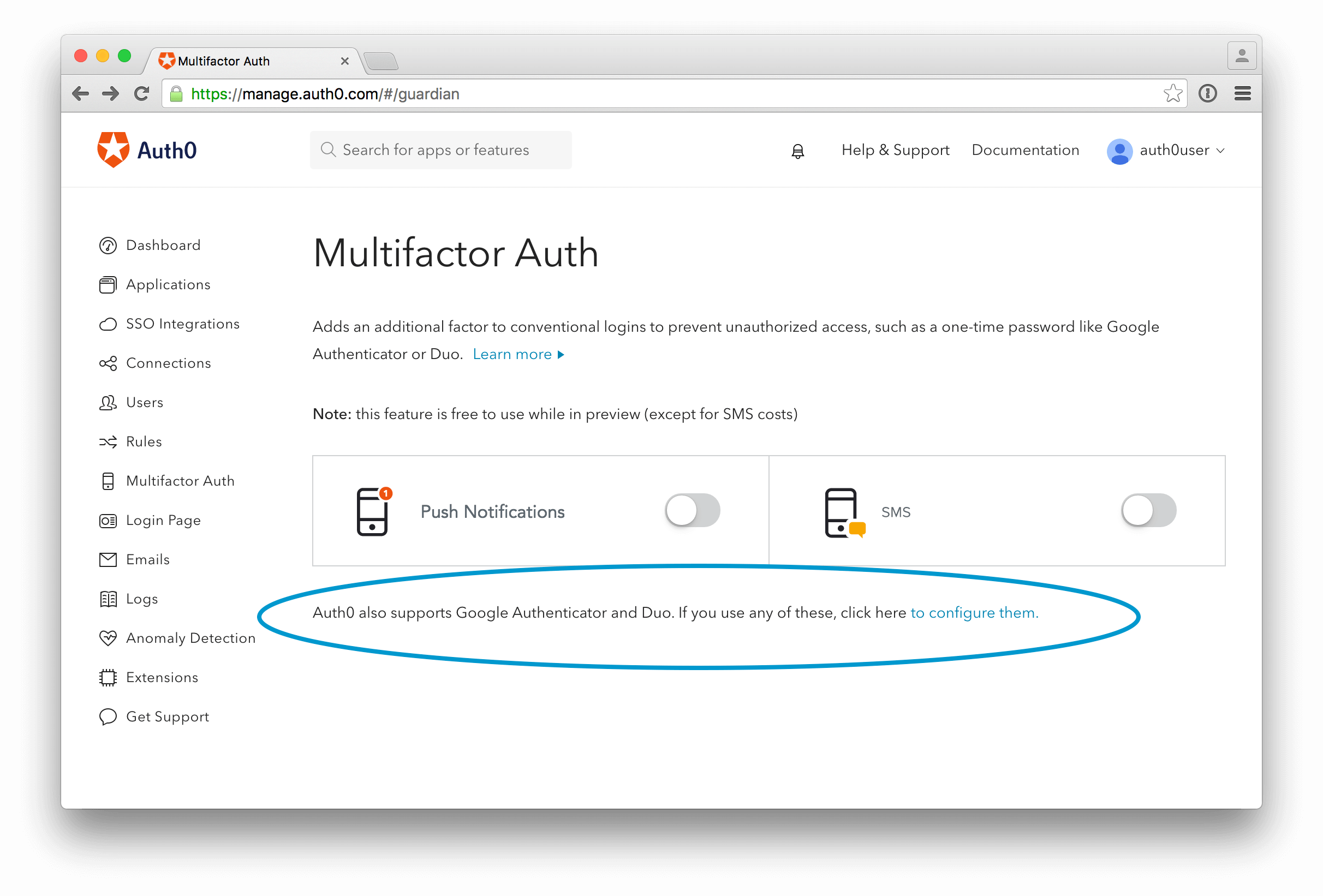Auth0 multifactor authentication feature
