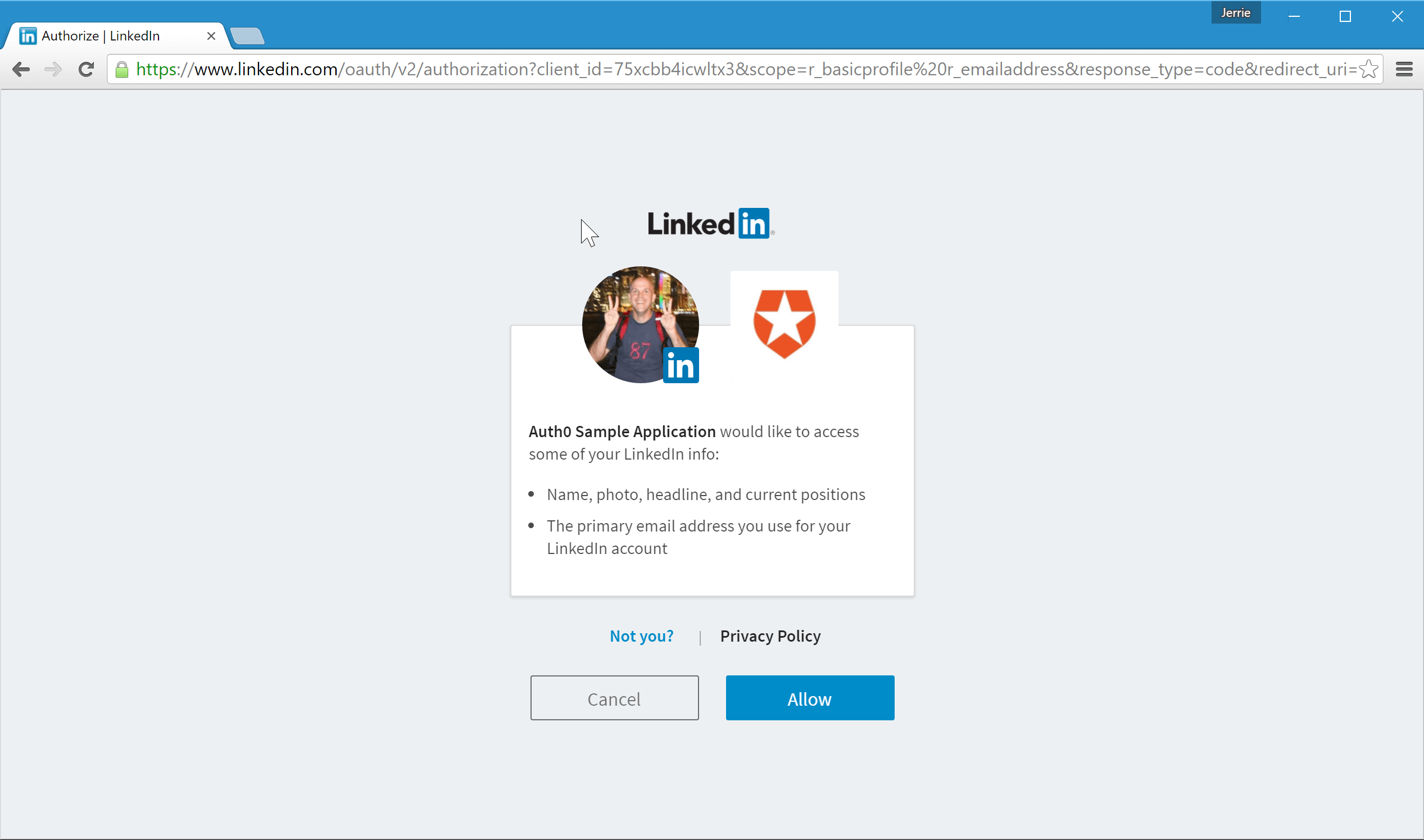 LinkedIn Authorization Dialog
