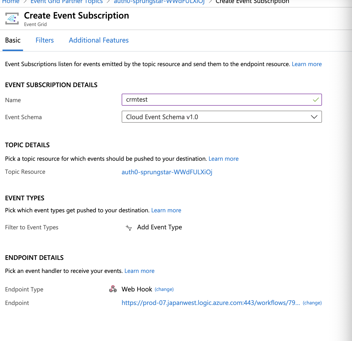 Azure create subscription