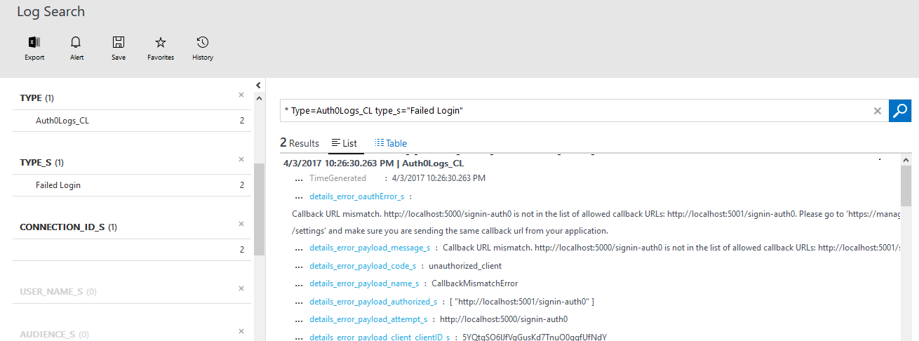 Auth0 logs showing in Log Analytics