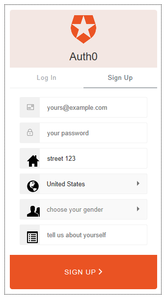 Auth0 customized sign up Lock
