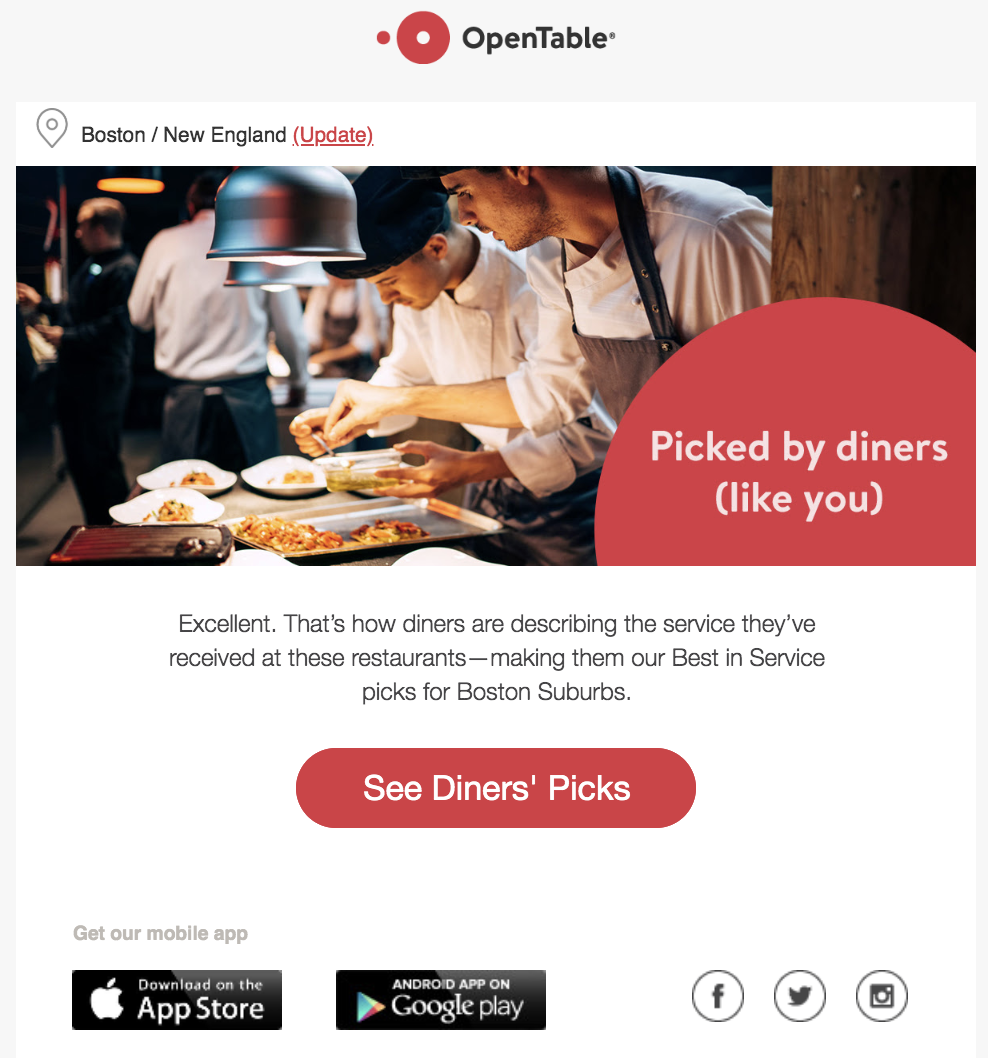 OpenTable web site screenshot