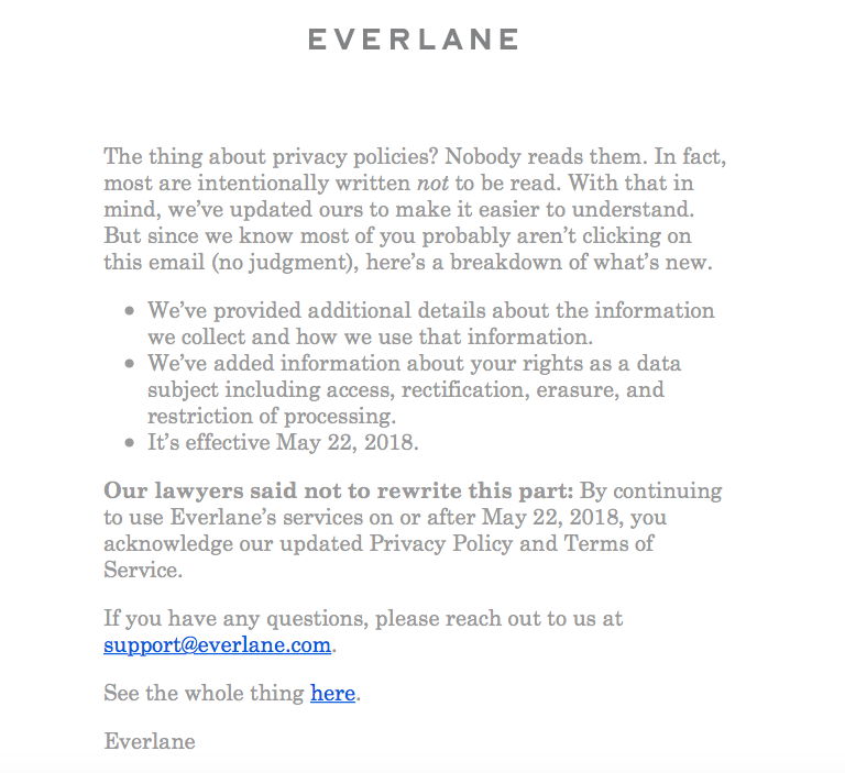 Everlane changes its privacy policy making it easier to understand