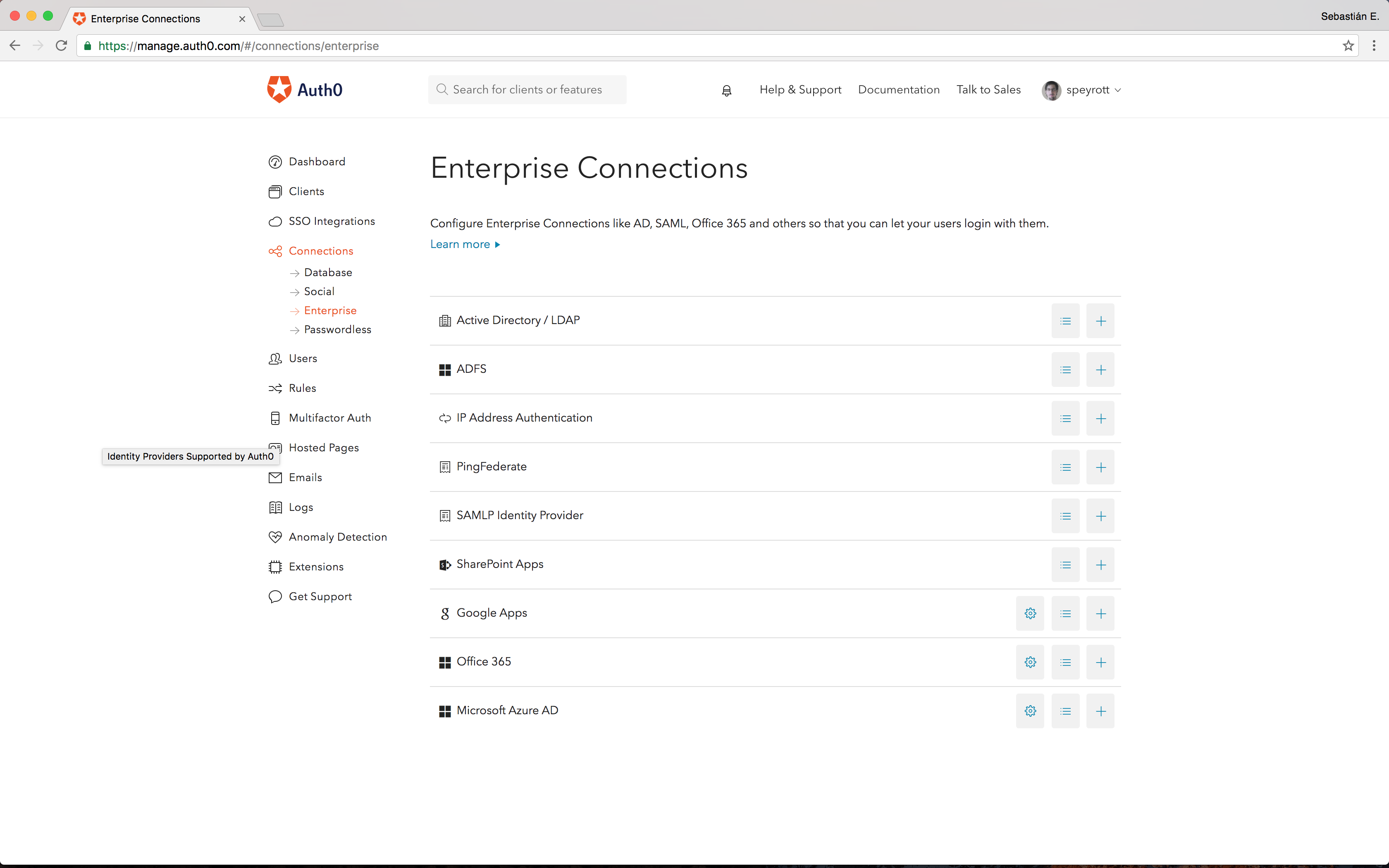 Auth0 enterprise connections