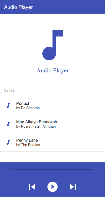 Image of music/audio player application built with Angular and RxJS