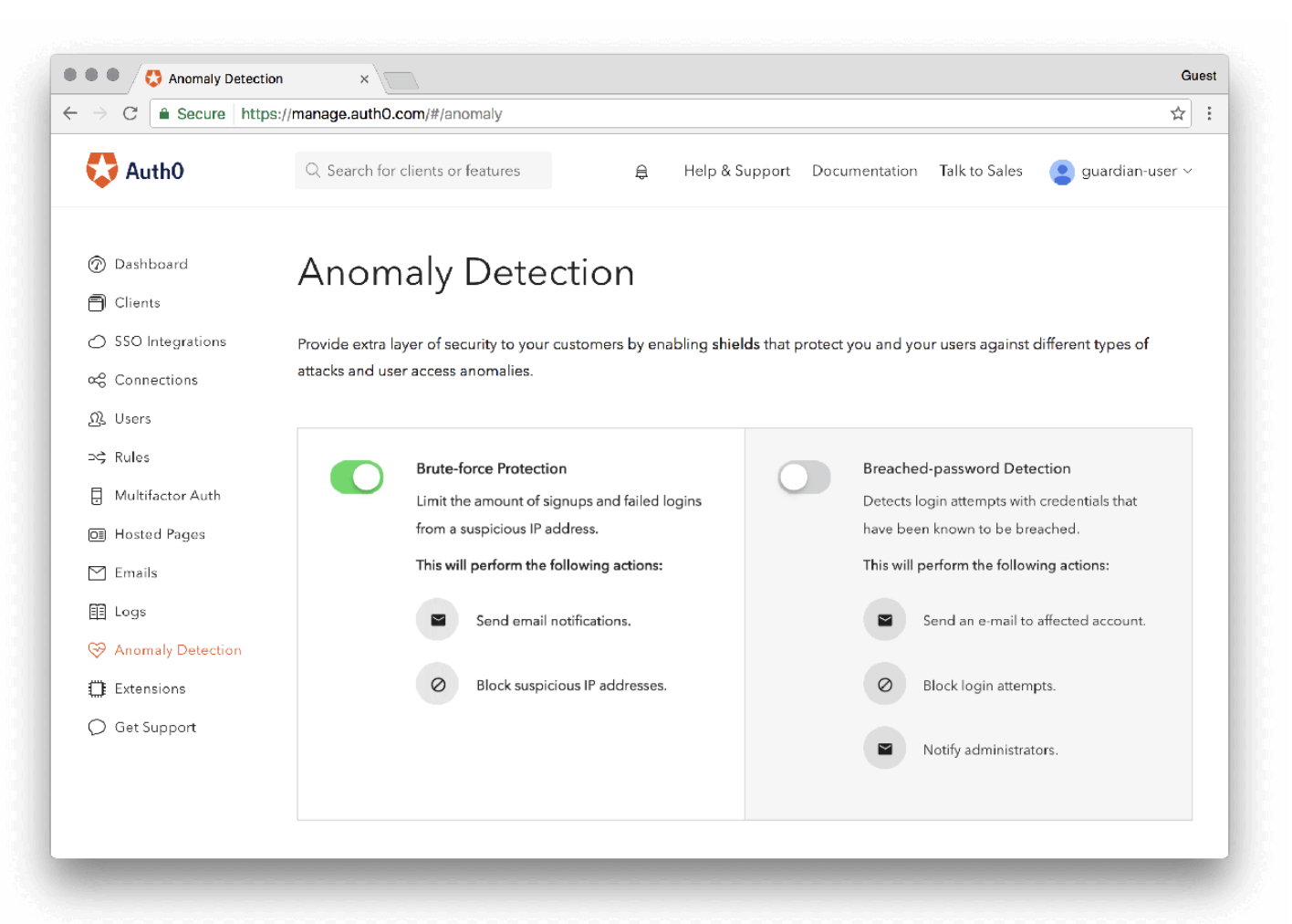 Auth0 Anomaly Detection view in the dashboard