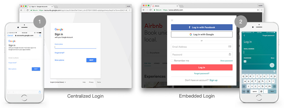 Universal vs. embedded login