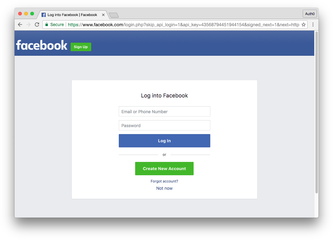 universal login with Facebook