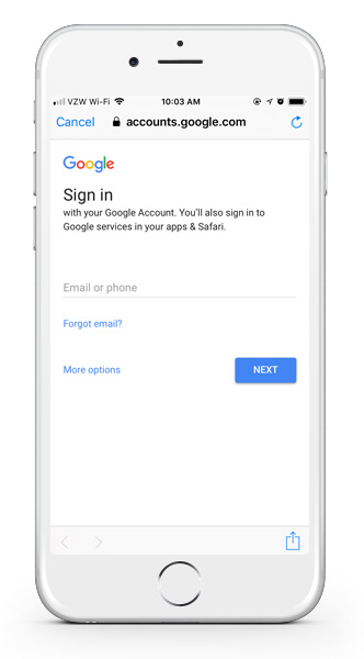 Google login on mobile app