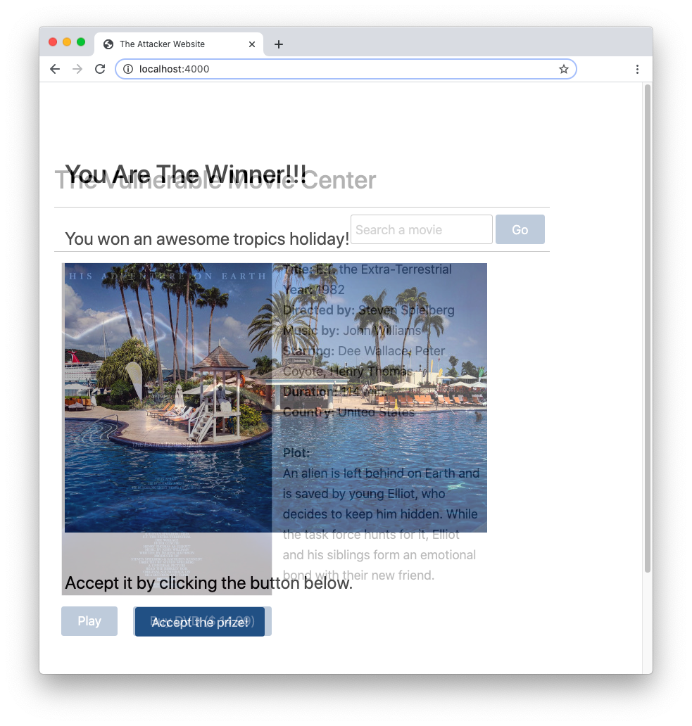 Overlapping websites for clickjacking attacks