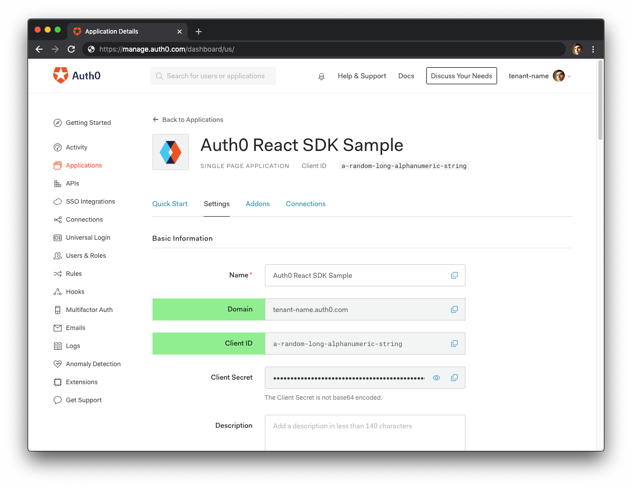 Auth0 Application Settings from the Auth0 Dashboard