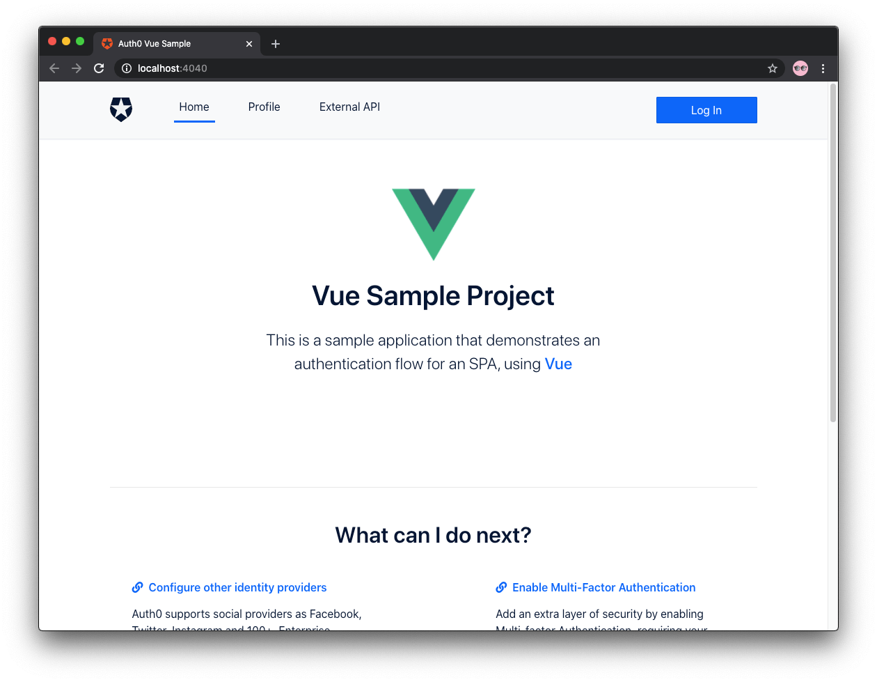 Auth0 Vue sample app