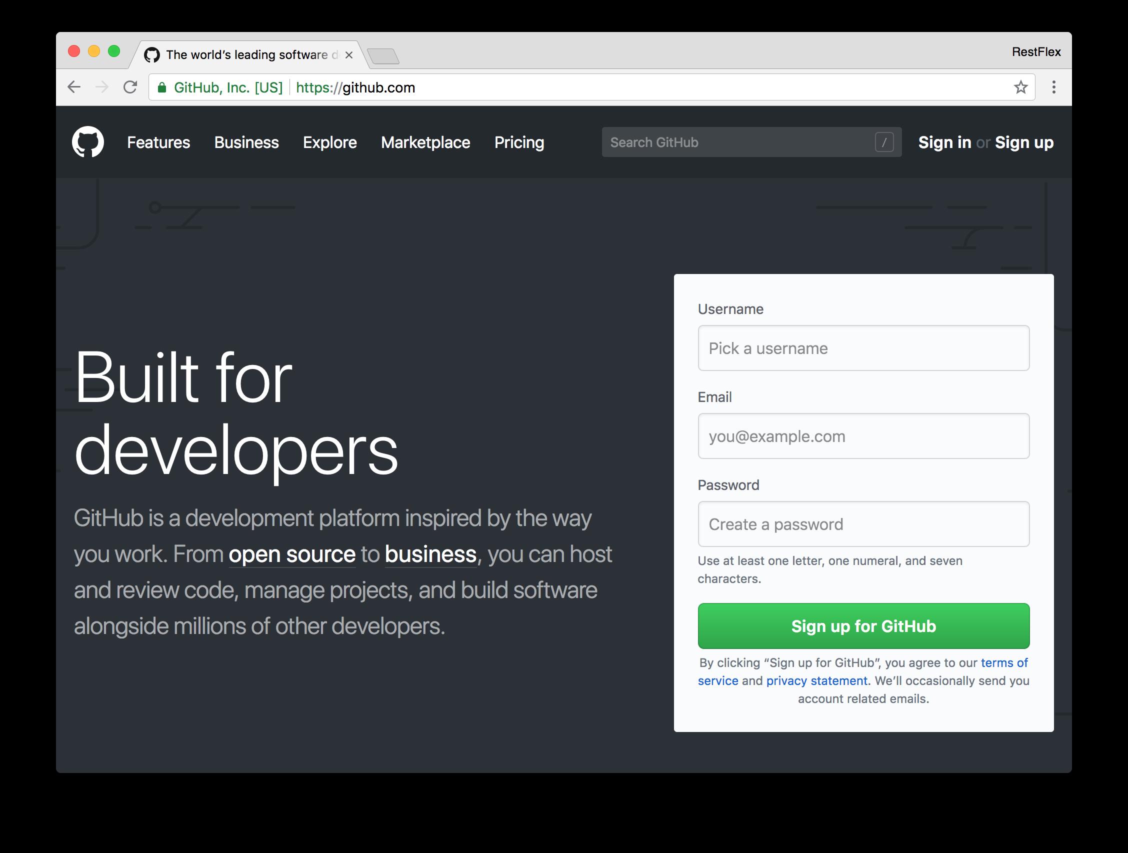 Creating a GitHub account - Github.com signup form