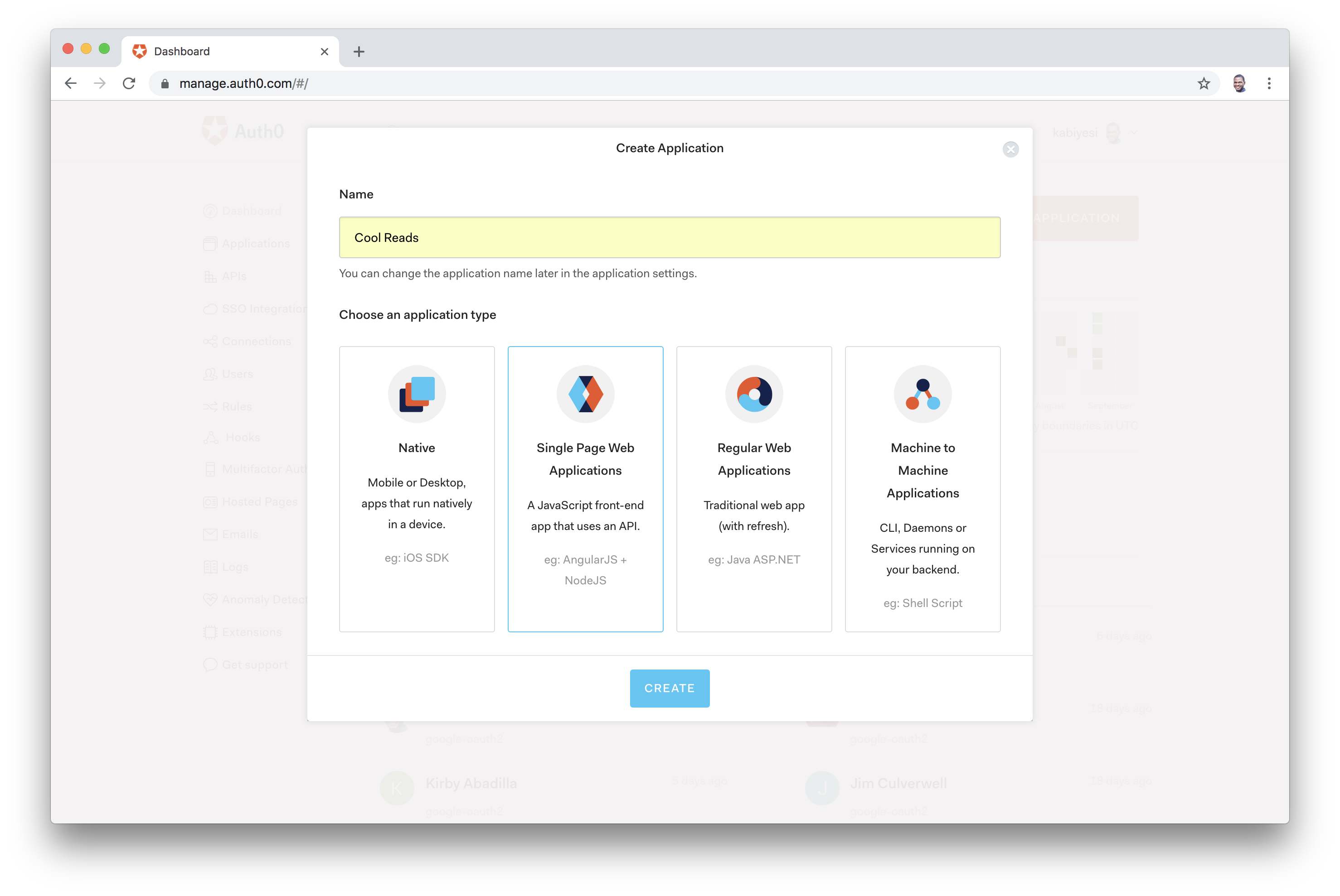 Auth0 Dashboard Select Application
