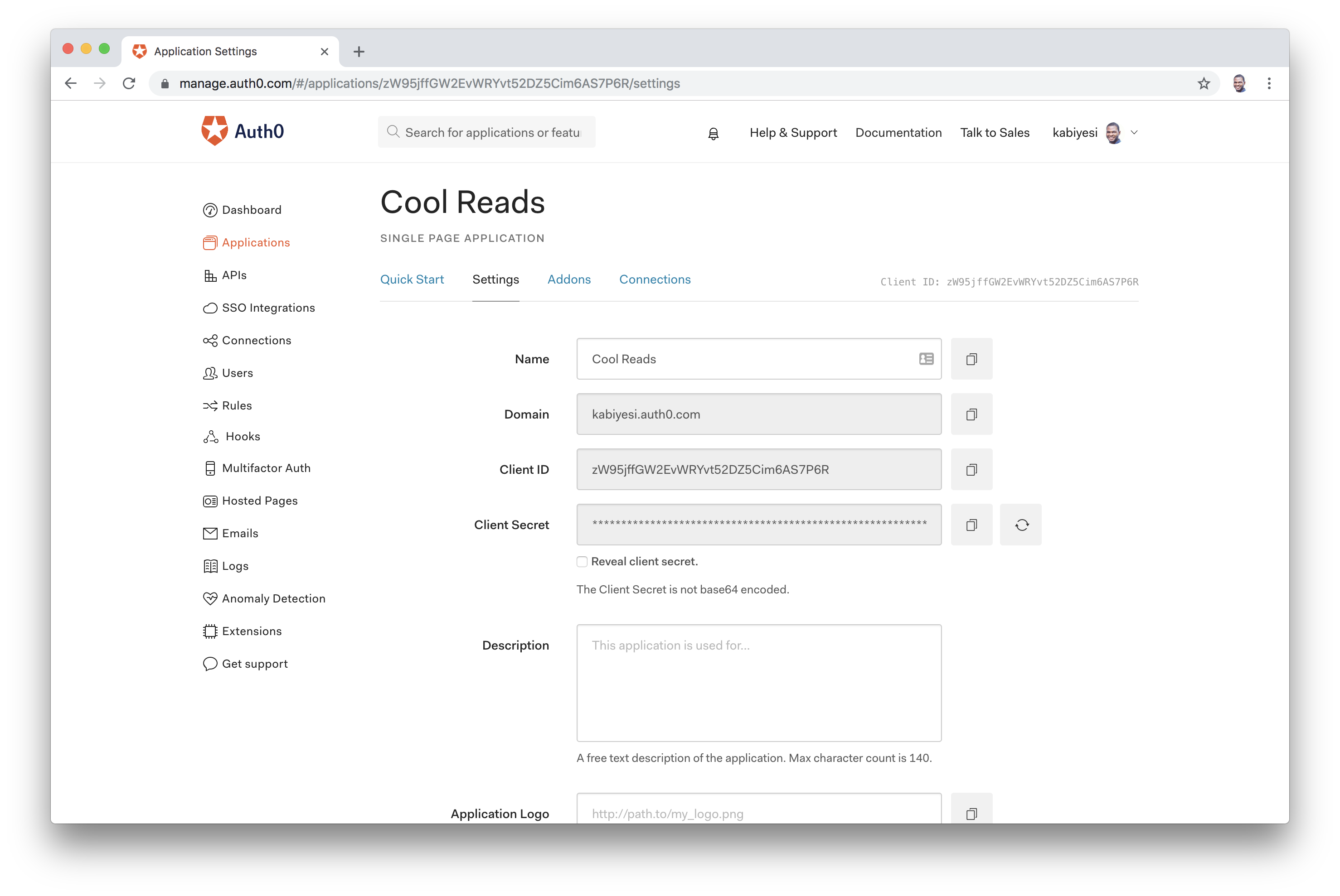 Auth0 Dashboard App Settings