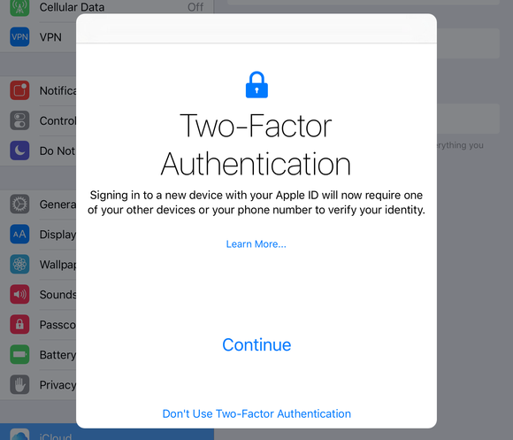 Apple's two factor authentication