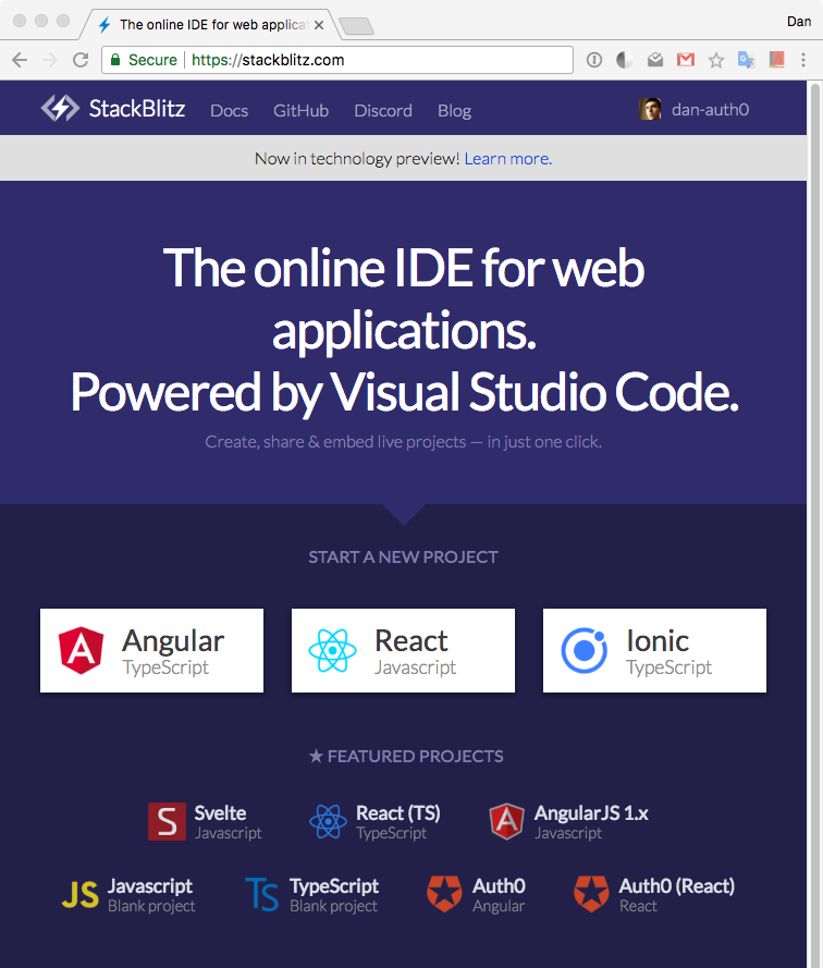 Create Secure Angular Apps in the Cloud with StackBlitz and