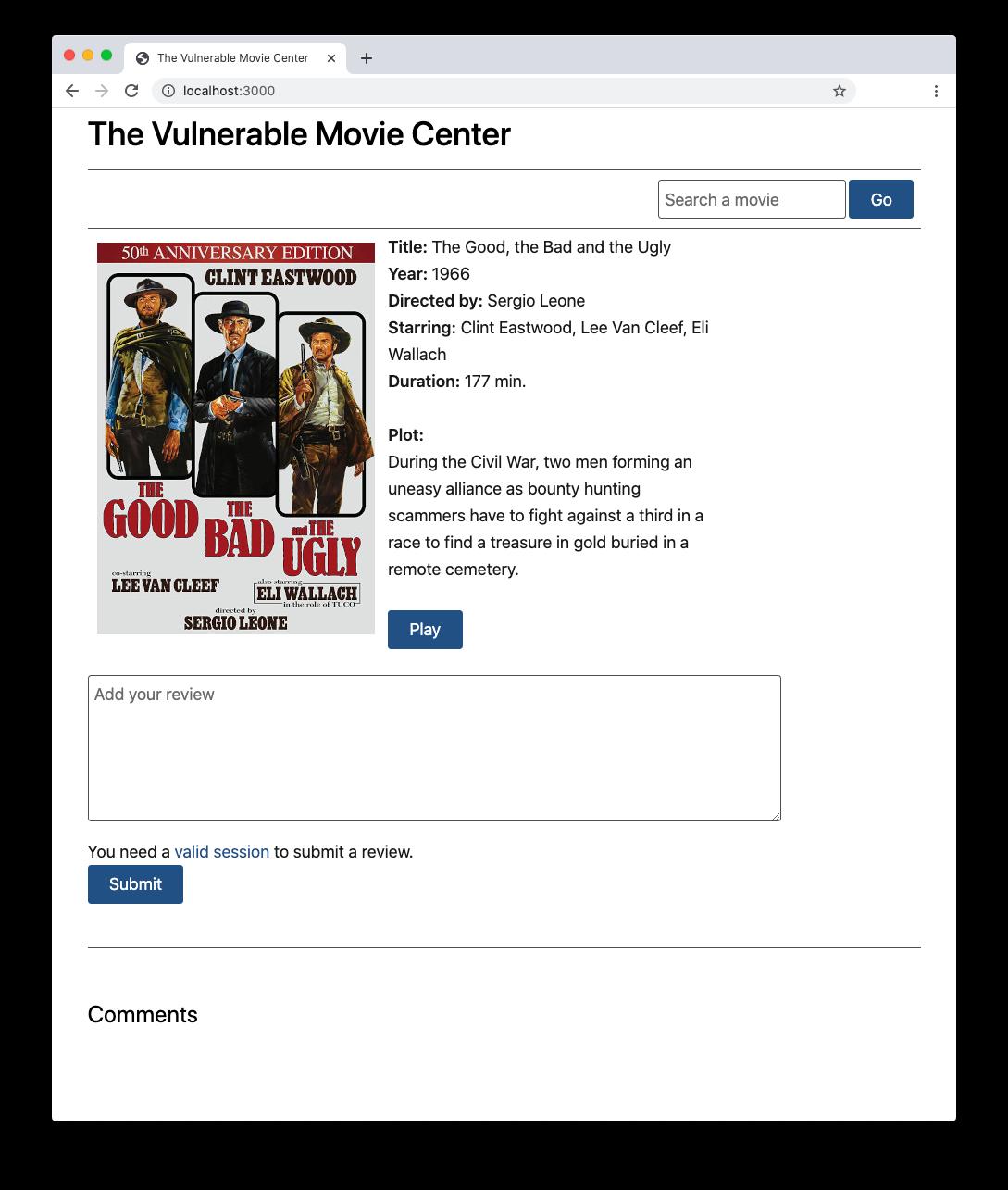 The CSRF vulnerable website