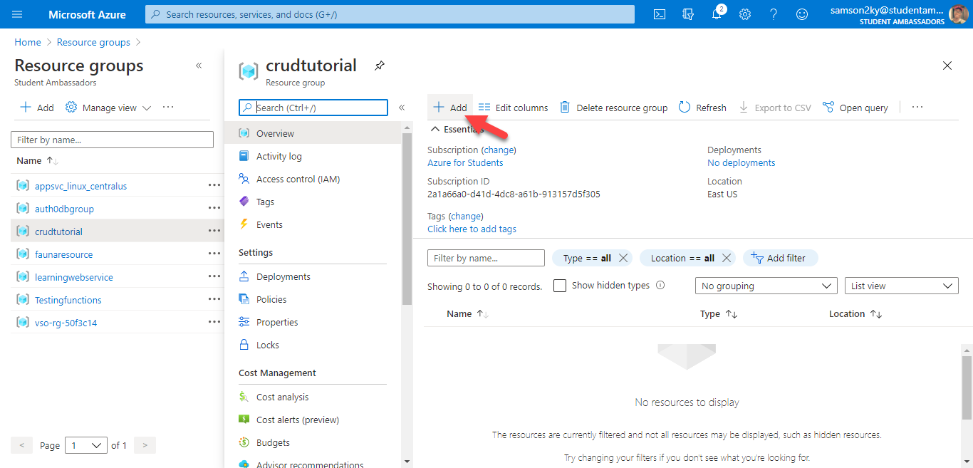 Add Azure resource to resource group